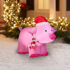 SALE!!Gemmy 3' Pink Inflatable Christmas Pig Airblown Christmas Yard Inflatable
