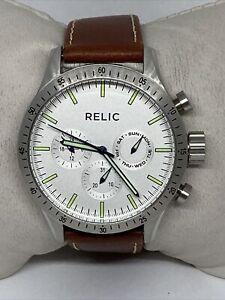 Relic ZR15891 Men's Brown Leather Analog White Dial Quartz Wrist Watch OL461