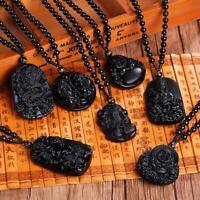 Natürlicher Obsidian Schmuck Lucky Amulet Black Dragon Anhänger Halskette  Heiß