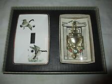 NOS Yale & Towne CERAMIC LIGHT SWITCH COVER & Door Knocker Set!  Canada Goose
