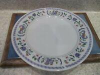 "6 Faberware 10 3/4"" Dinner Plate Faience Flowers Lavender Birds Flowers Zig Zag"