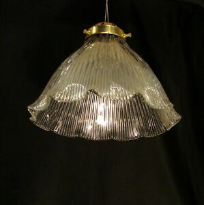 Vintage British Signed Holophane Glass Lampshade with British Brass Gallery