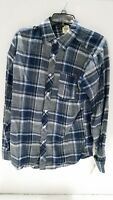 Rustic Blue RM218123 Size Medium Waterman Plaid Flannel Woven Shirt NEVER WORN