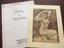 Original Willy Seiler Nude Women Etching - From Occupied Japan #5 Hand Colored