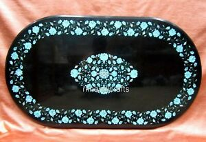 Turquoise Stone Inlay Art Kitchen Table Top Marble Coffee Table 24 x 48 Inches