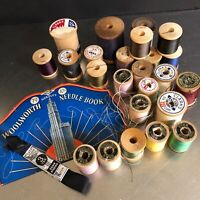 Vintage Sewing Thread Wooden Spools 24 Needle Book Ribbon Collectible Crafting