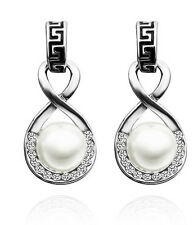 Luxury Vintage Silver and White Pearl Drop Earrings Studs E625
