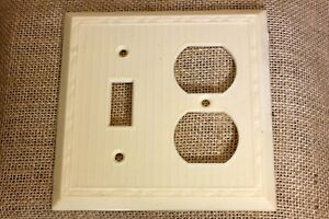 OLD double Switch Recptacle Plate IVORY Off White plastic vintage NEW STOCK 1940