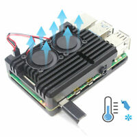 Al Alloy Cooling Shell Heatsink Cover with Double Fan for Raspberry Pi 4 Model B