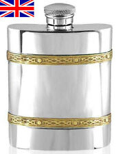 Celtic Brass Banded 6oz English Pewter Hip Flask with Free Engraving (cel489)