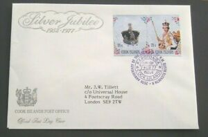 1977 COOK ISLANDS FIRST DAY COVER QE11 SILVER JUBILEE SG564/5