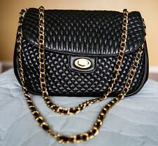 BALLY Black Quilted Lamb Skin Leather Gold Chained Evening Bag EUC Made in Italy