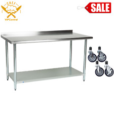 30 X 60 Stainless Steel Work Prep Table Commercial Kitchen Backsplash w/ Casters