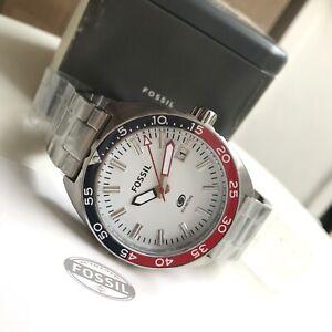 Fossil Watch * FS5049 Breaker Diver Blue-Red Bezel Silver Steel Ivanandsophia
