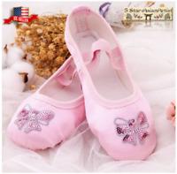 Ballet Dance Slipper Shoes Satin Soft Sole Sequins Embroidery Toddler Kids Girl