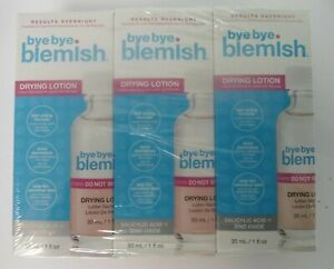Bye Bye Blemish Drying Lotion Safe for Sensitive Skin Results Overnight 3-pieces