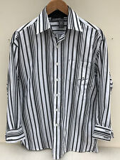 Roca Wear, RW, Black White Grey Striped, Casual Long Sleeve Shirt, Men's Size S