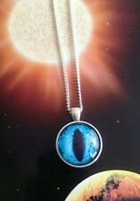 Taxidermy glass blue eye necklace silver cabochon cameo vintage goth Halloween