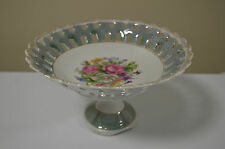 Pedestal Candy Dish Flowers with Golden Accent