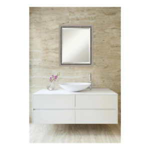 Amanti Art Vanity Mirror 19 in. x 23 in. Beveled Glass Framed Wood Silver