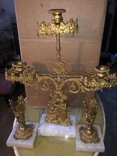 Antique 19thC Mantel Set Victorian Brass Girl And Deer Candlestick Candelabra