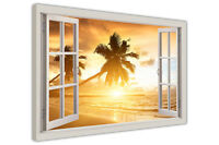 TROPICAL BEACH 3D WINDOW BAY VIEW FRAMED CANVAS WALL ART PICTURES HOLIDAY PRINTS