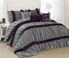 7 Piece Caralina Chic Ruched Pleated Ruffled Comforter Sets- Queen King Cal.King