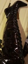 High Heels Leather Shiny Black Knees Shoes size39
