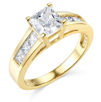 2.5 Ct Princess Cut Engagement Wedding Ring Channel Setting Real 14K Yellow Gold