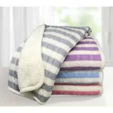 Sweet Stripe Cotton Cable Knit Sherpa Baby Blanket