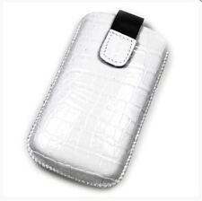 Housse Etui Pochette Protection façon cuir croco blanc pour NOKIA 230