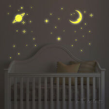 Glow In The Dark Moon And Stars Wall Decal Sticker - 23.5x12