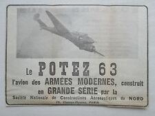 11/38 PUB SNCAN AVION TRIPLACE POTEZ 63 CHASSE BOMBARDEMENT AVIATION ORIGINAL AD