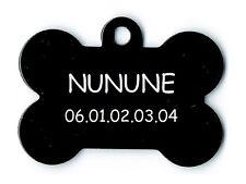 medaille gravee chien ou chat - modele petit os nunune - noire