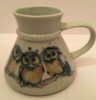 Vintage Otagiri Hand Crafted Three Owls Gray Glazed Ceramic Coffee Tea Mug Cup