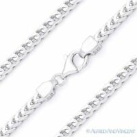 Italy .925 Sterling Silver 3mm Arrow Link Franco Chain Men's Italian Necklace