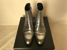 YSL Men's boots in lame silver size 41.5/UK. 7.5