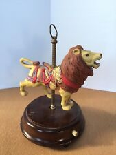 Music Box Vintage 1987 Porcelain Lion Wooden Carousel Enesco