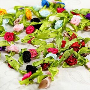 100x Satin Ribbon Rose Flower Wedding Party Clothes Sewing Hair Accessory Decor