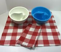Red White Blue USA-Made 2 Obol Original Never Soggy Cereal Bowls + Cloth Napkins