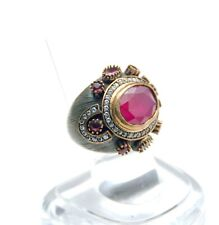 NEW Oxidized Sterling Silver/Bronze Turkish ring Ruby/Crystal Quartz size 7