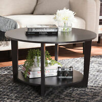 Contemporary Wooden Round Coffee Table w/ Bottom Shelf Living Room Accent Brown