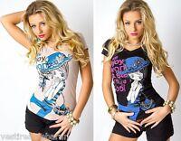 Top Donna T-Shirt Maniche Corte Maglietta MISS JOJO C033 Beige/Nero Tg S/M L/XL