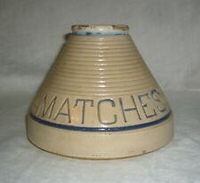 ANTIQUE ORIGINAL CONICAL BLUE WHITE SALT GLAZE STONEWARE MATCH HOLDER W/ STRIKER