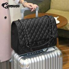 Handbag Women Leather Large ShoulderTravel Quilted  Artificial Chain Bag Black