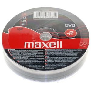 10 Pack Maxell DVD-R 16x 4.7gb 120min Blank Recordable DVD Discs In Shrink Wrap