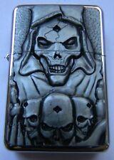 Raised Graphic Skull Sacrifice - Steel Star Cigarette Lighter