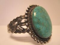 VINTAGE NATIVE AMERICAN STERLING SILVER TURQUOISE BRACELET CUFF NAVAJO PAWN OLD