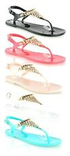 LADIES WOMENS GLADIATOR JELLY DIAMANTE HOLIDAY SANDALS FLIP FLOPS SHOES SIZE