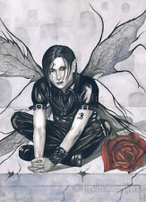Gothic Male FAIRY Fantasy Art ORIGINAL PAINTING Cemetery Rose Tombstone Black WC